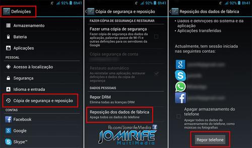 Como fazer a reposição de dados de fábrica do Smartphone/Tablet