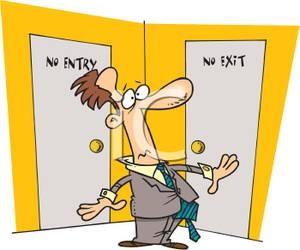 A_Colorful_Cartoon_Businessman_Stuck_In_a_Dilemma_