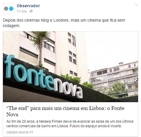 """""""The end"""" para mais um cinema em Lisboa: o Fonte Nova - Observador"""