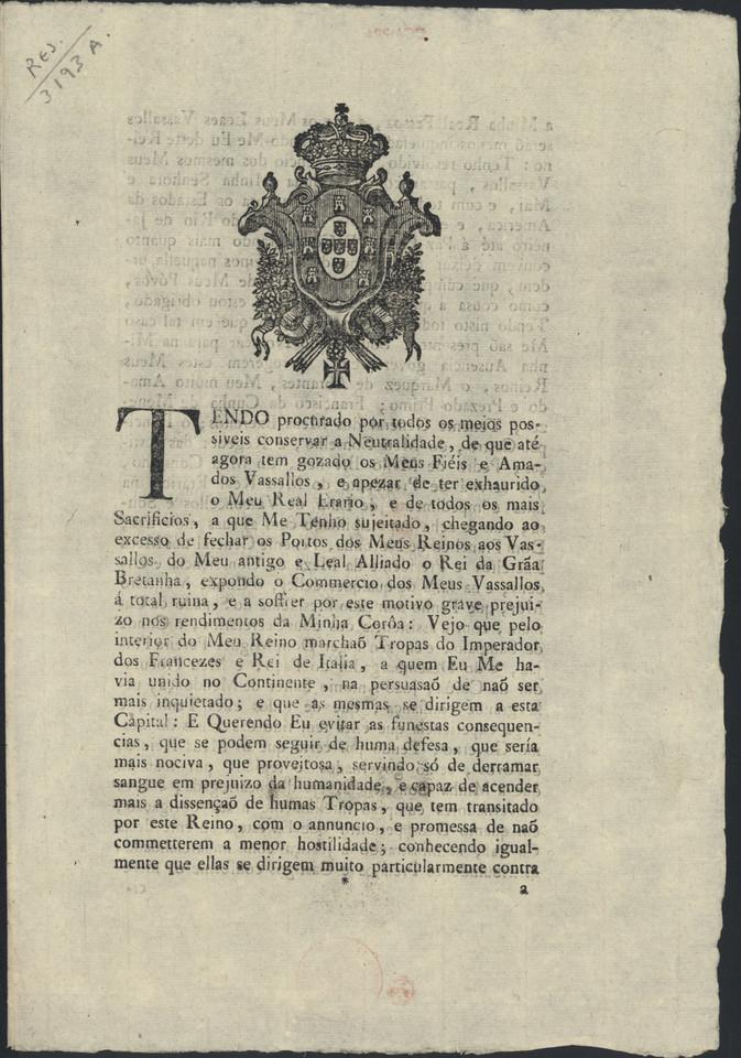 Decreto em que o Príncipe Regente anuncia a sua a