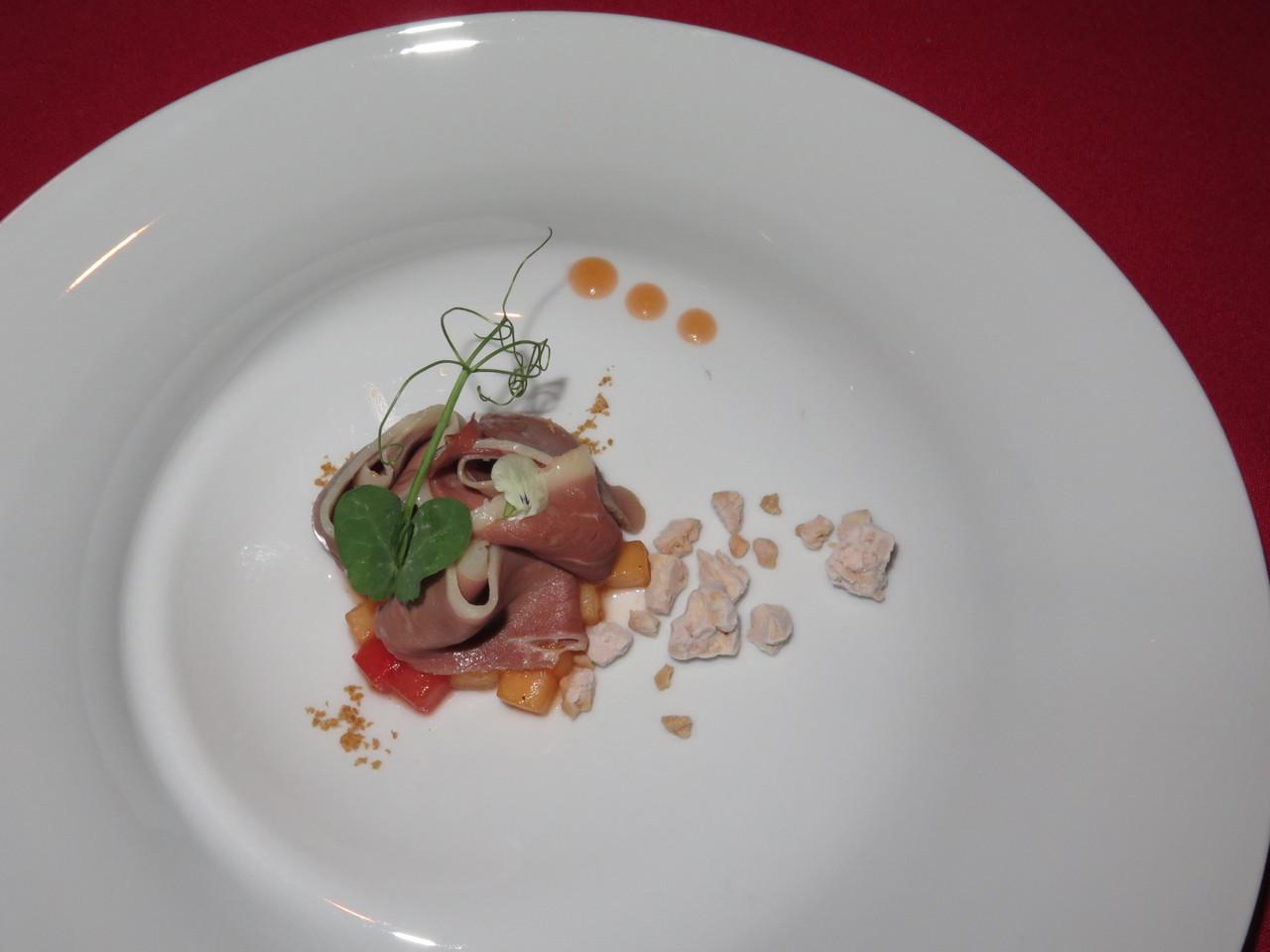'Prosciutto' de pato, melão, geleia de 'Prosciutto di Parma' e foie gras