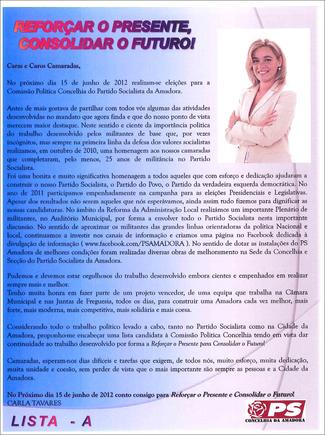 APRESENTAÇÃO CANDIDATURA CPC PS AMADORA 2012 CT.