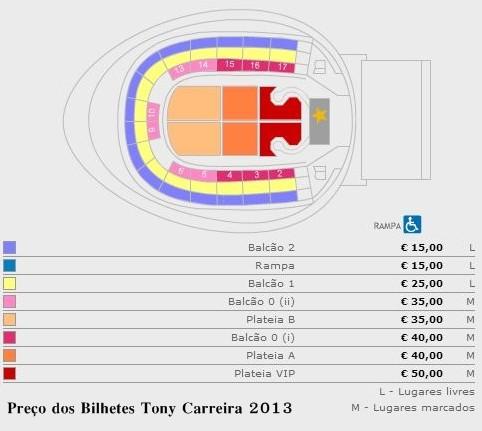 preço dos bilhetes Tony Carreira em Lisboa 2013.J