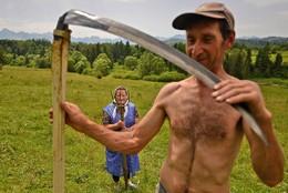 Agricultores em Rzepiska, Polónia