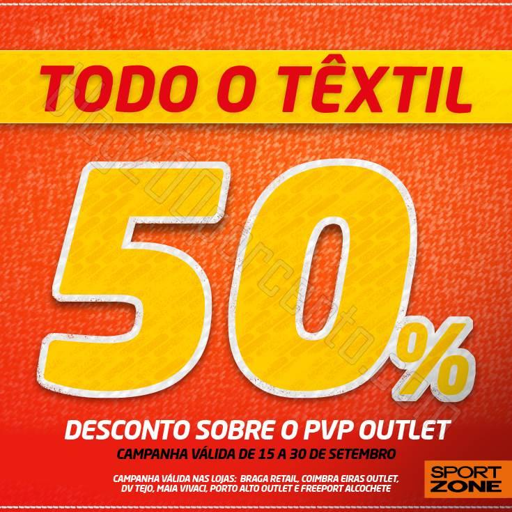 50% de desconto SPORT ZONE todo o têxtil até 30 setembro