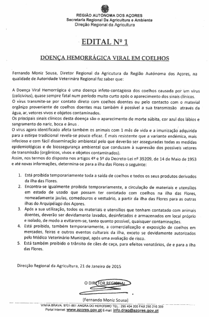 Edital nº1 Doença Hemorrágica Viral em Coelhos.